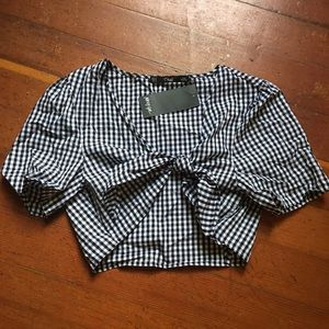 Nasty gal tie front checkered top